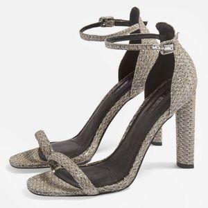 NEW Topshop Robyn ankle strap sandals Glitter Heel